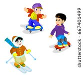 skateboarding and skiing | Shutterstock .eps vector #667401499