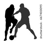 soccer players in duel vector... | Shutterstock .eps vector #667403095