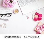 beautiful woman's workplace....   Shutterstock . vector #667406515