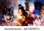 painting of a young indian... | Shutterstock . vector #667409071