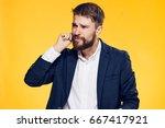 business man on a yellow...   Shutterstock . vector #667417921