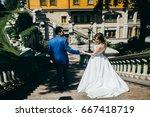 very happy wedding couple at... | Shutterstock . vector #667418719
