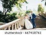 very happy wedding couple at... | Shutterstock . vector #667418761