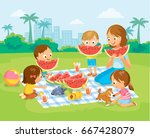 mother with kids at the park... | Shutterstock .eps vector #667428079