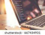 closeup coding html and... | Shutterstock . vector #667434931