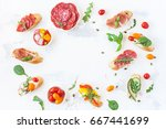 traditional spanish tapas on... | Shutterstock . vector #667441699