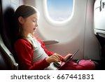 adorable little girl traveling...   Shutterstock . vector #667441831