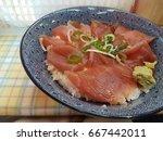 tuna don  japanese rice bowl...   Shutterstock . vector #667442011