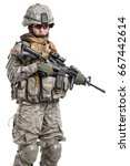 female in us army soldier with... | Shutterstock . vector #667442614