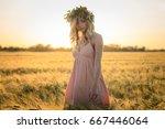 beautiful young lady walking in ... | Shutterstock . vector #667446064