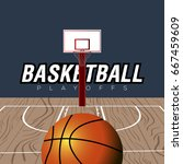 basketball wooden field with a... | Shutterstock .eps vector #667459609