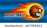 comic basketball ball on flames ... | Shutterstock .eps vector #667459621