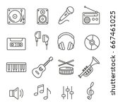 music icons  thin monochrome... | Shutterstock .eps vector #667461025