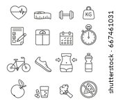 diet and exercise icons  thin... | Shutterstock .eps vector #667461031