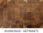 oak wood butcher end grain...   Shutterstock . vector #667466671