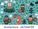 seamless pattern with three... | Shutterstock .eps vector #667468789