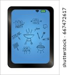 barbecue grill hand drawn...   Shutterstock .eps vector #667472617