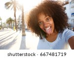 selfie portrait of happy woman... | Shutterstock . vector #667481719