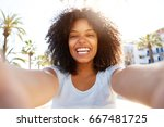 selfie portrait of laughing... | Shutterstock . vector #667481725