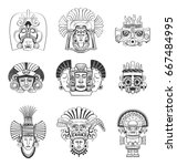 vector set of mask and deity of ... | Shutterstock .eps vector #667484995