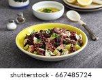 Octopus Salad In Ceramic Dish...