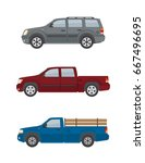 two pickup trucks and off road... | Shutterstock .eps vector #667496695