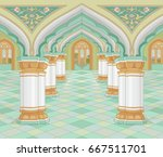 illustration of medieval arabic ... | Shutterstock .eps vector #667511701