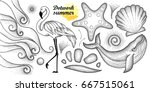 vector summer set in dotwork... | Shutterstock .eps vector #667515061