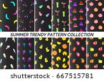 collection of summer patterns.... | Shutterstock .eps vector #667515781
