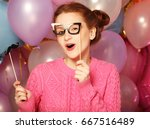 party concept  happy girl with  ... | Shutterstock . vector #667516489