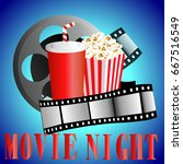 cinema background with popcorn...   Shutterstock . vector #667516549