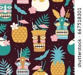 vector seamless tiki drinks...   Shutterstock .eps vector #667518301
