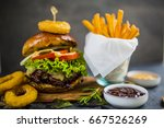 tasty grilled glazed beef... | Shutterstock . vector #667526269