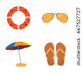 set of summer icons on a white... | Shutterstock .eps vector #667527727