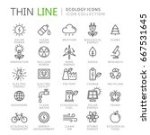 collection of ecology thin line ... | Shutterstock .eps vector #667531645