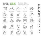 collection of camping thin line ... | Shutterstock .eps vector #667532299