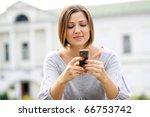 beautiful young woman. outdoor...   Shutterstock . vector #66753742