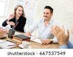 business people clapping hands... | Shutterstock . vector #667537549