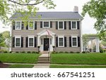 gray georgian colonial home | Shutterstock . vector #667541251