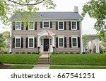 gray georgian colonial home | Shutterstock . vector #667541251