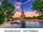 paris eiffel tower and river... | Shutterstock . vector #667548661