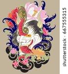 japanese demon mask tattoo... | Shutterstock .eps vector #667555315