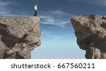 young man in front of a chasm.... | Shutterstock . vector #667560211