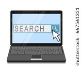 notebook with search field on...   Shutterstock .eps vector #667561321