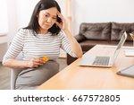 cheerless pregnant woman having ... | Shutterstock . vector #667572805