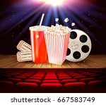 cinema supplies on a wooden... | Shutterstock .eps vector #667583749
