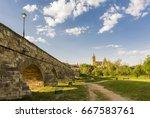 ancient roman bridge with the... | Shutterstock . vector #667583761