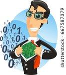 big data superhero manager... | Shutterstock .eps vector #667587379