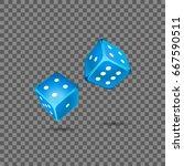 blue dice on transparent... | Shutterstock .eps vector #667590511