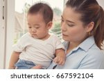 happy loving family. asia woman ... | Shutterstock . vector #667592104